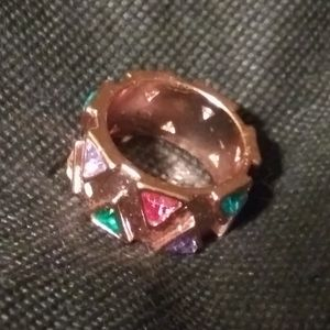 Accessories - SZ. 8 ROSE GOLD PLATED MULTI COLOR GEMSTONE RING